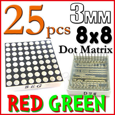 25 Dot Matrix LED 3mm 8x8 Red Green Common Anode 24 pin 64 LED Displays module