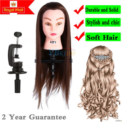 30% Real Hair Hairdressing Training Head Model w/ Clamp Stand Practice Mannequin