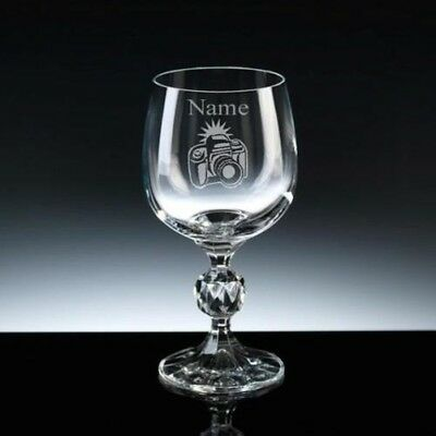 Personalised PHOTOGRAPHY Camera Wine Glass ENGRAVED FREE 7oz, 9oz or 12oz Gift