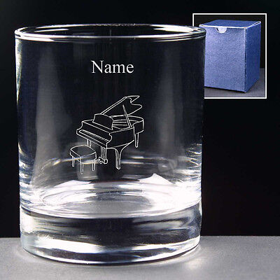 Personalised GRAND PIANO 10oz Whisky Glass ENGRAVED FREE Pianist Birthday Gift