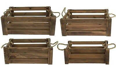 e2e Natural Brown Shallow Farm Shop Style Wooden Slatted Apple Crate Display Box