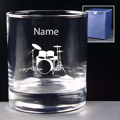 Personalised DRUM KIT 10oz Whisky Glass ENGRAVED FREE Drummer Birthday Gift NEW
