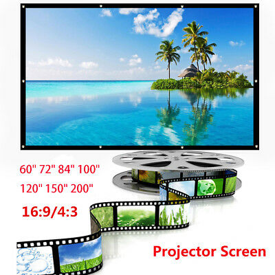 """60"""" 72"""" 84"""" 100"""" 120"""" 150"""" 200"""" inch 4:3/16:9 Projector Projection Screen HD 3D"""