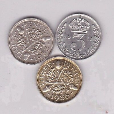 1911/1933 & 1936 Silver Three Pence Coins In Extremely Fine Or Better Condition