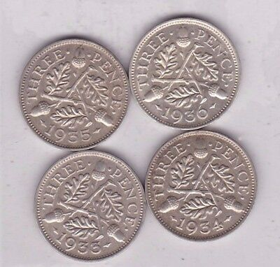 1933/1934/1935 & 1936 Silver Three Pence Coins In Near Mint Condition
