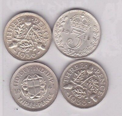 1915/1933/1936 & 1941 Silver Three Pence Coins In Near Mint Condition