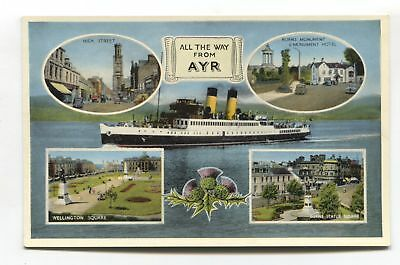 Ayr - c1950's multiview postcard featuring steamer