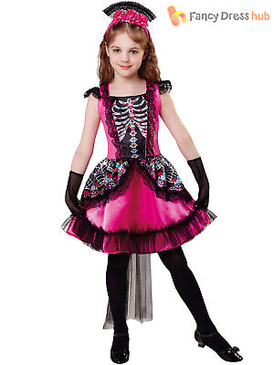 Girls Day of the Dead Costume Childs Halloween Skeleton Fancy Dress Kids Outfit
