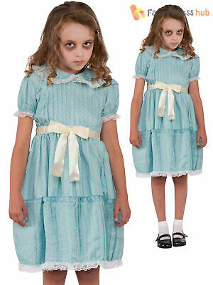 Girls The Shining Twin Sister Costume Childs Creepy Halloween Fancy Dress Outfit
