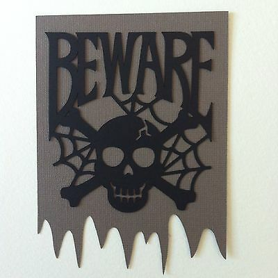 6 X Large Layered 'beware' Skull &web Die Cut Shapes-Halloween