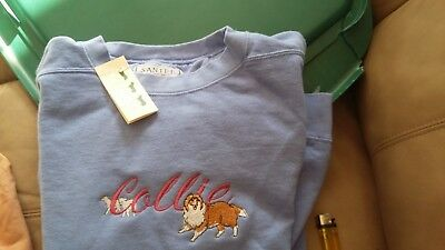Collie, long sleeve Santee sweatshirt, Dog show seller, Embroyered size L