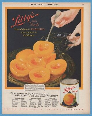 1928 Libby's California Peaches Canned Foods Vintage 1920s Kitchen Decor Ad