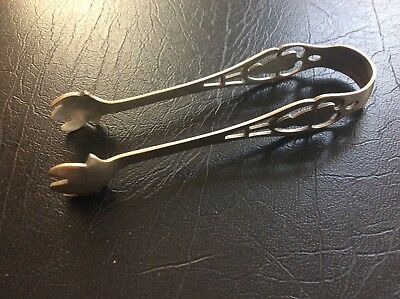 Antique Sterling Silver Repousse Design Sugar Tongs 17.5 grams