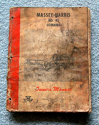 Massey Harris No. 92 Combine Owners Manual 1958 meac3