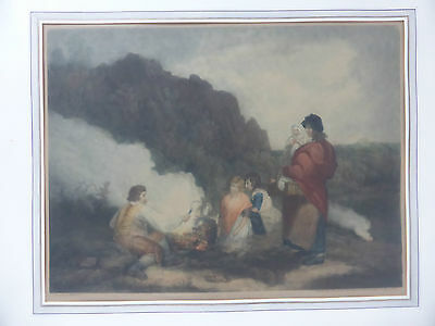 THE FERN GATHERERS Mezzotinto J. R. Smith publ. 1799 after George Morland
