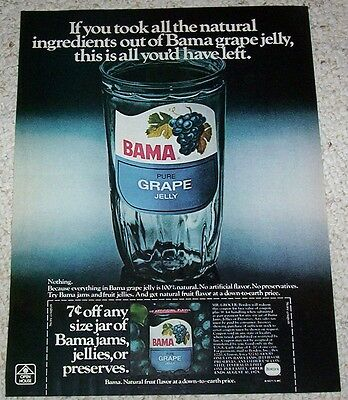 1975 ad page - Bama Grape Jelly jar Borden old coupon VINTAGE Print ADVERTISING