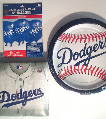 LOS ANGELES DODGERS Party Supplies Includes Plates, Napkins,Balloons & Banner !