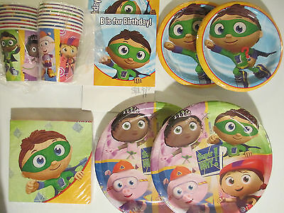 SUPER WHY ? - Birthday Party Supplies SUPER DELUXE Kit w/ Invitations !