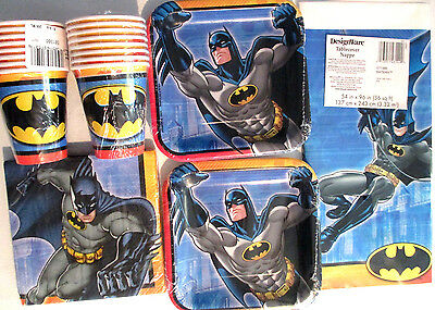 BATMAN - Birthday Party Supply Kit Pack Set for 16 w/ Invitations