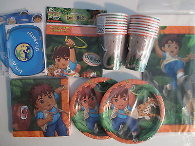 GO DIEGO GO Wild Animals Rescue Birthday Party Supply DELUXE kit w/ Invites/Bags