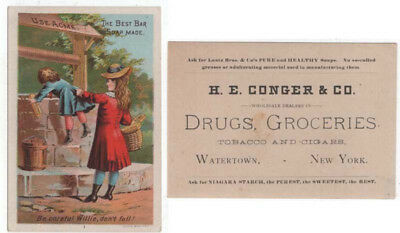 Watertown, New York,  H. E. CONGER & CO. Drugs , Groceries Trade Card  Acme Soap