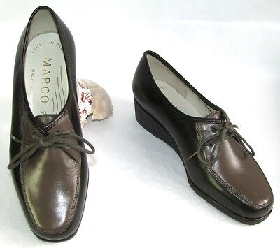 Marco Wedges Shoes All Leather Veal Calfskin Brown 36 - New & Box