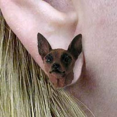 Miniature Pinscher Red Brown Tiny One Dog Head Post Earrings Jewelry
