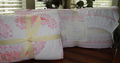 Pottery Barn Kids Elyse Baby Bedding 5 pc Set Quilt Skirt Fitted Bumper Sham NWT