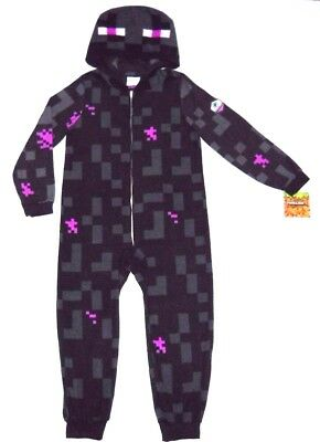 Boys MINECRAFT ENDERMAN 8 10/12 14/16 Union Suit COSTUME Pajamas Blanket Sleeper