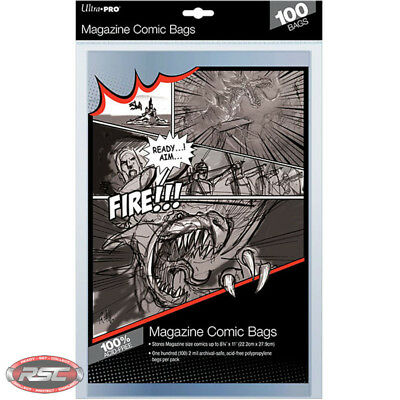 100 - ULTRA PRO MAGAZINE SIZE 2-Mil Comic Bags 8-3/4 x 11 - New Packaging!