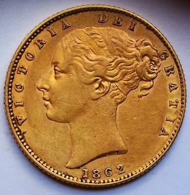 DETAILED 1862 Queen Victoria Gold Shield Sovereign - WIDE DATE VARIETY
