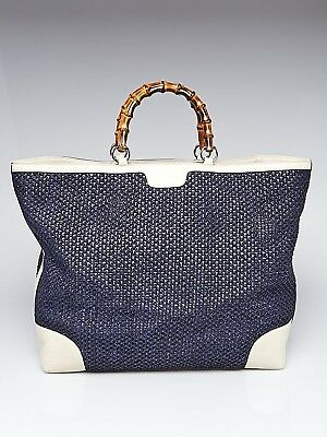a483ef0d876 GUCCI BLUE WHITE STRAW and Leather Bamboo Top Handle Tote Bag ...
