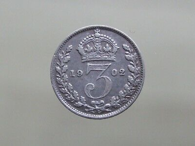 1902 Edward VII Sterling Silver Threepence, Lovely Coin - FREE POSTAGE (J67)