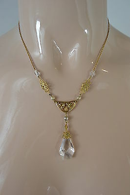 Vintage Art Nouveau Clear Glass And Gold Coloured Pendant Necklace