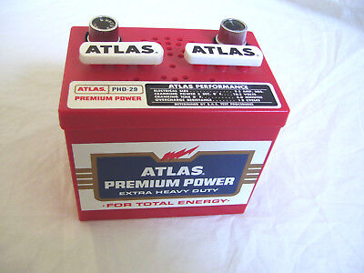 ATLAS BATTERY shaped TRANSISTOR RADIO TESTED WORKS Novelty Ad Premium Giveaway
