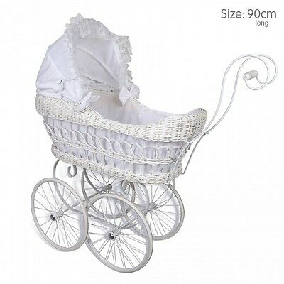 New Angelina Classic Cane Heirloom Doll Pram Carriage White Wicker Basket