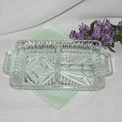 Elegant Pinwheel Crystal Divided Relish Dish Tab Handles Vintage Heavy Glass