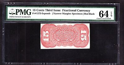 US 15c Fractional Currency FR 1273-5 Reverse spnmb PMG 64EPQ Ch CU