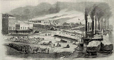 Memphis Tennessee TN Riverfront Levee Steamboats, Cotton Antique Print 1862