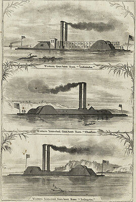 Steamers Converted to Ironclad Gunboats Lafayette, Choctaw, Indianola 1863 Print