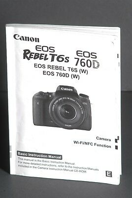 Canon EOS Rebel T6S / 760D Camera Instruction Book / Manual / User Guide