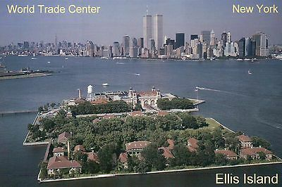 Ellis Island & World Trade Center, Twin Towers, New York City NY, WTC - Postcard