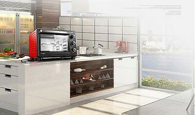30L Home Commercial Black+Red Multi-function Heating Benchtop Electric Oven *