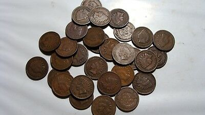 Lot of (30) indian head cent s  all decent coins