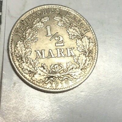 GERMANY  1918-D 1/2 Mark small silver coin about uncirculated