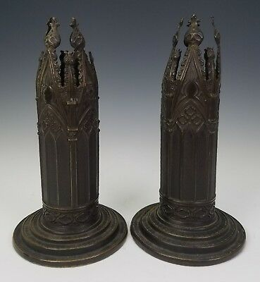ANTIQUE c.1850 ENGLISH DAYS PATENT GOTHIC BRONZE CANDLESTICKS SCENT JAR VASES