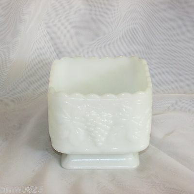 Vintage Square Footed Milk Glass Vase White Grapes Harvest Bridal Wedding Floral