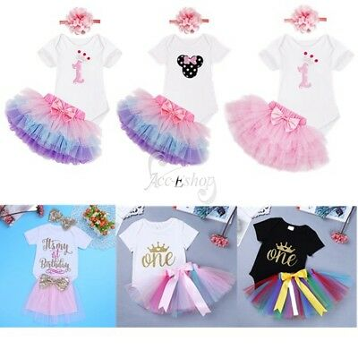 My 1st Birthday Baby Girls Toddler Romper Outfit Tutu Skirt Headband Set Clothes