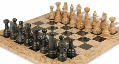 "wooden & Black Marble Chess Set with 16"" Board"