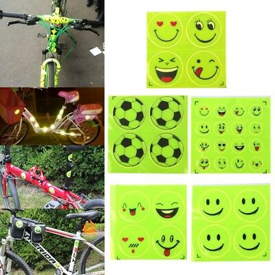 Reflective Bicycle Sticker Smiling Face Pattern Safety Night Riding Decal Funny